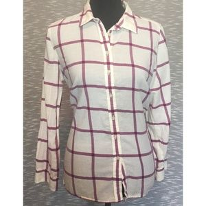 Talbots White Button Down Top With Purple Plaid